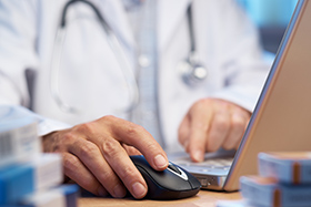 Doctor making electronic request for proposal