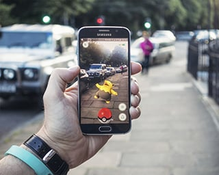 Pokemon Go in the street.