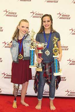 Taylor and Kenzie With Trophies