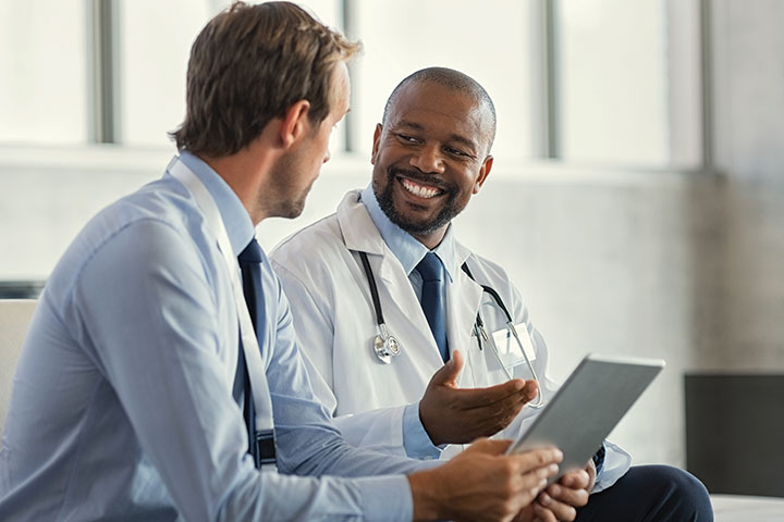 Doctor with businessman